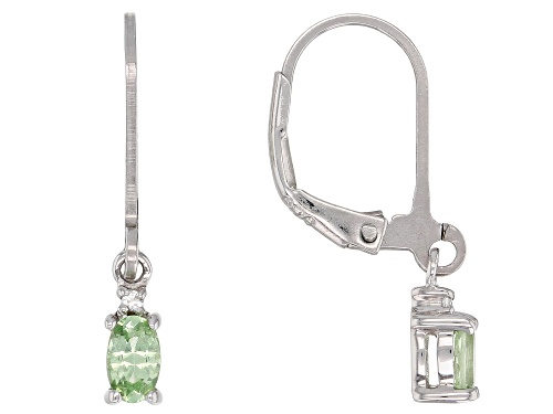 Photo of .40ctw Tsavorite Garnet With .02ctw White Zircon Rhodium Over Sterling Silver Dangle Earrings