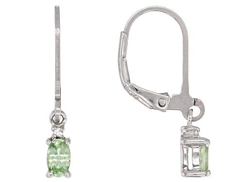 .40ctw Tsavorite Garnet With .02ctw White Zircon Rhodium Over Sterling Silver Dangle Earrings