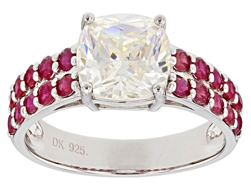 Photo of 3.33ct cushion lab strontium titanate with .85ctw Mahaleo(R) ruby rhodium over sterling silver ring - Size 8