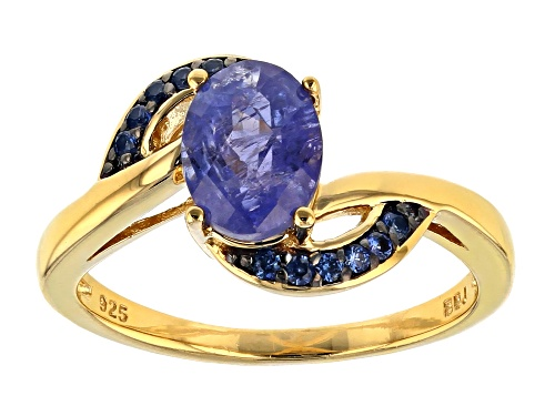 Photo of 1.57ct Oval Tanzanite With .14ctw Round Blue Sapphire 18k Yellow Gold Over Sterling Silver Ring - Size 7