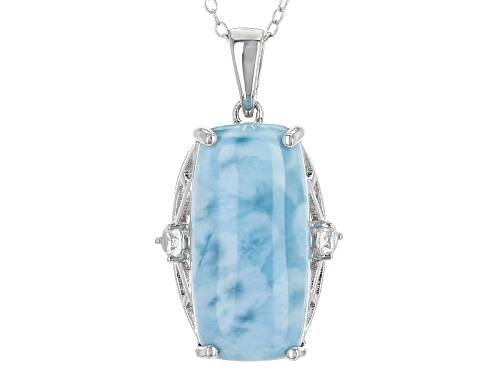 Photo of 20x10mm Rectangular Cushion Larimar & .14ctw Round White Zircon Sterling Silver Pendant With Chain