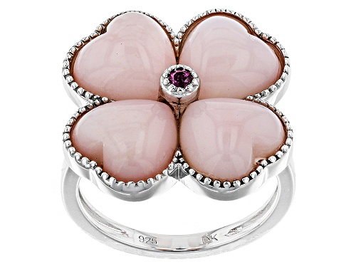 Photo of 9mm Heart Shape Peruvian Pink Opal & .04ct Round Raspberry Rhodolite Sterling Silver Flower Ring - Size 6