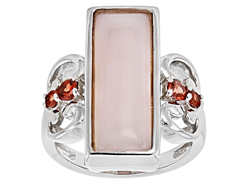 Photo of 21x7mm Rectangle Peruvian Pink Opal & .41ctw Round Vermelho Garnet™ Silver Ring - Size 7