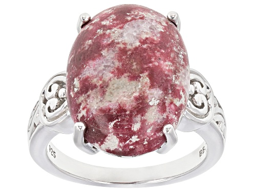 Photo of 18x13mm Oval Cabochon Thulite Rhodium Over Sterling Silver Solitaire Ring - Size 8