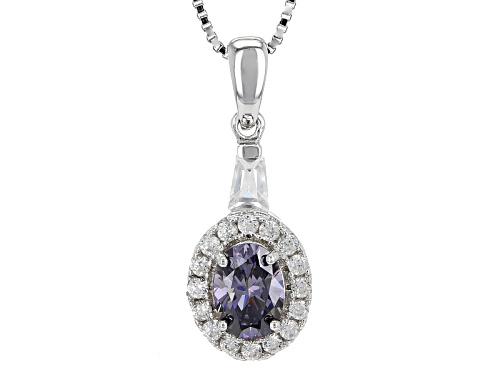 Photo of .85ct Purple Fabulite Strontium Titanate And .47ctw  White Zircon Silver Pendant With Chain