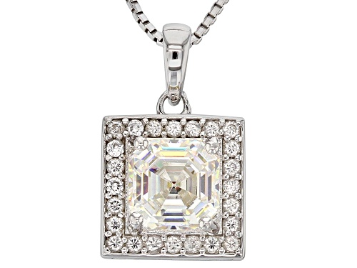 Photo of 1.80ct Fabulite Strontium Titanate with .18ctw white zircon silver pendant with chain