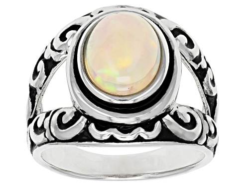 Photo of 1.57ct Oval Cabochon Ethiopian Opal Sterling Silver Solitaire Ring - Size 7