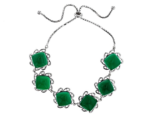 """Photo of 10mm Square Cushion Green Onyx Sterling Silver Bolo Bracelet, Adjusts To Approximately 6""""-9"""" - Size 7.25"""