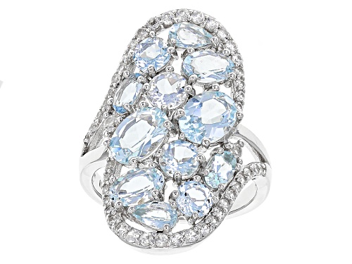 Photo of 4.06ctw Mix Shape Brazilian Aquamarine With .71ctw Round White Zircon Sterling Silver Cluster Ring - Size 6