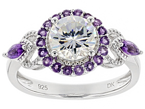Photo of 1.57ct round lab created strontium titanate & .50ctw African amethyst rhodium over silver ring - Size 11