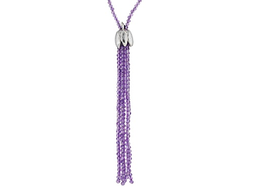 Photo of Rondelle African Amethyst sterling silver bead tassel necklace - Size 36