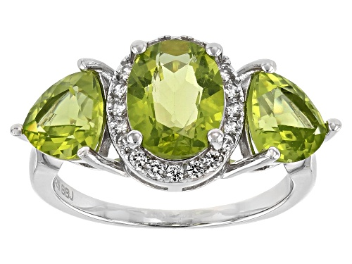 Photo of 4.13ctw Oval & Trillion Manchurian Peridot™ With .23ctw White Zircon Sterling Silver 3-Stone Ring - Size 6