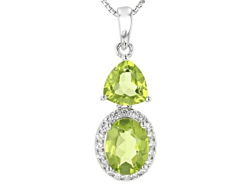 Photo of 2.82ctw Oval And Trillion Manchurian Peridot™ With .23ctw White Zircon Silver Pendant With Chain