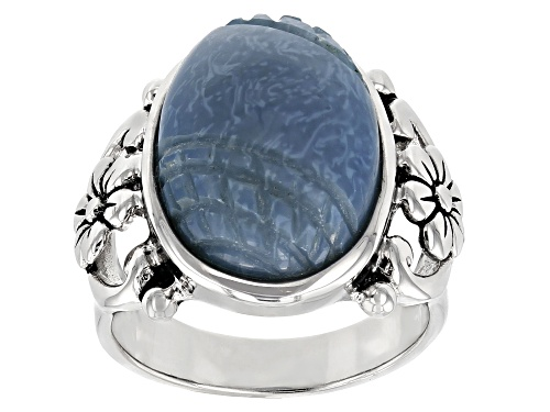 Photo of 16x12mm Oval Carved Peruvian Blue Opal Sterling Silver Solitaire Ring - Size 6