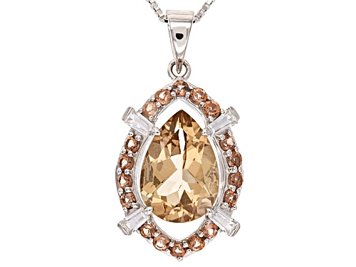 Photo of 2.89ct Pear Shape Champagne Quartz, .61ctw Andalusite & .40ctw White Zircon Silver Pendant W/Chain