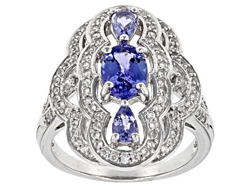 Photo of 1.21CTW OVAL AND PEAR SHAPE TANZANITE WITH .47CTW WHITE ZIRCON RHODIUM OVER STERLING SILVER RING - Size 7