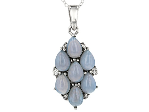 Photo of 7x5mm Pear Shape Blue Opal With .13ctw Round White Zircon Sterling Silver Pendant With Chain