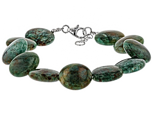 Photo of 15MM ROUND GREEN AVENTURINE QUARTZ RHODIUM OVER STERLING SILVER BRACELET - Size 7.25