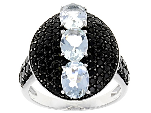 Photo of 1.79ctw Oval Brazilian Aquamarine With 1.31ctw Round Black Spinel Sterling Silver 3-stone Ring - Size 5