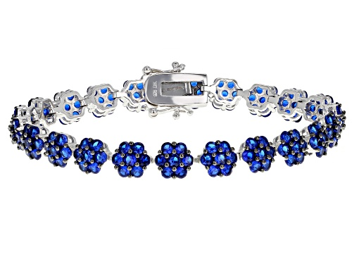 Photo of 9.25ctw Round Lab Created Blue Spinel Sterling Silver Bracelet - Size 8.25