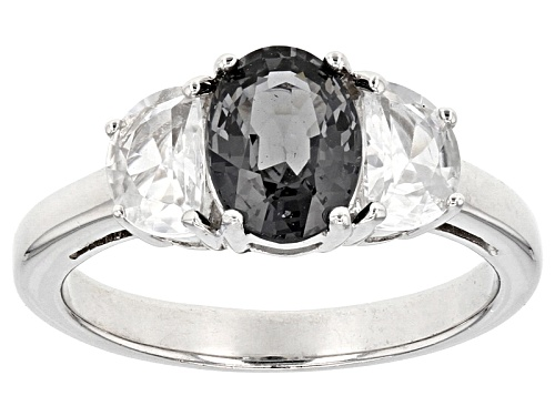 Photo of 1.14ct Oval Platinum color Color Spinel With .85ctw Half-Moon White Zircon Silver 3-Stone Ring - Size 9
