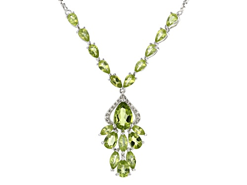 "Photo of 5.33CTW MANCHURIAN PERIDOT(TM) & WHITE ZIRCON SILVER BOLO NECKLACE ADJUSTS TO APPROXIMATELY 28"" - Size 28"