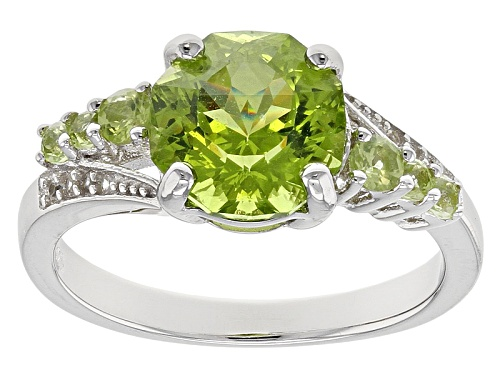 Photo of 3.01CTW ROUND MANCHURIAN PERIDOT™ WITH .07CTW ROUND WHITE ZIRCON STERLING SILVER RING - Size 12