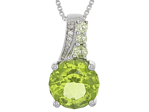 Photo of 2.93CTW ROUND MANCHURIAN PERIDOT™ WITH .10CTW  WHITE ZIRCON STERLING SILVER PENDANT WITH CHAIN