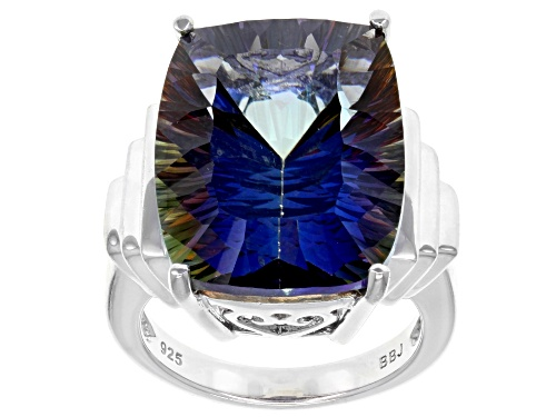Photo of 15.00ct Rectangular Cushion Mystic Universe™ Mystic Quartz® Sterling Silver Solitaire Ring - Size 7