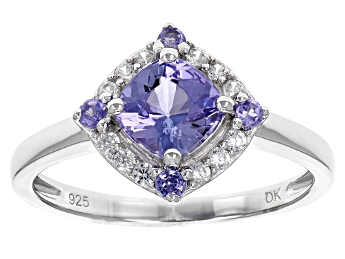 Photo of 1.12CTW SQUARE CUSHION AND ROUND TANZANITE WITH .20CTW WHITE ZIRCON RHODIUM OVER SILVER RING - Size 8