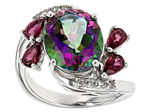 Photo of 4.50ct Green Mystic Topaz® With 1.08ctw Rhodolite And White Zircon Rhodium Over Silver Ring - Size 8