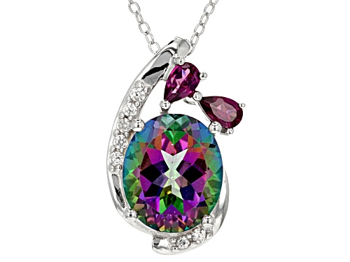 Photo of 5.61ct Green Mystic Topaz(R).64ctw Raspberry Rhodolite & White Zircon Silver Pendant W/Chain