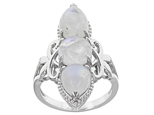 Photo of 8mm Round & 9x7mm Pear Shape Rainbow Moonstone Sterling Silver 3-Stone Ring - Size 5