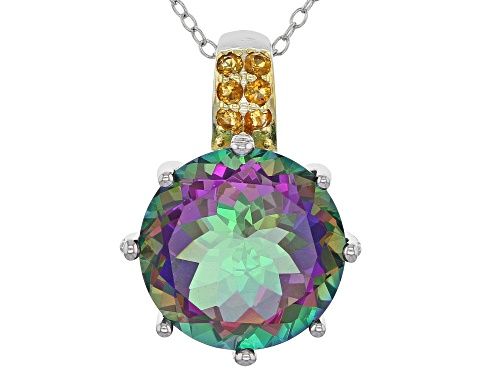 Photo of 11.05ct round Green mystic Topaz® and .15ctw round citrine silver pendant with chain