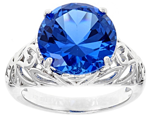 Photo of 6.50CT ROUND LAB CREATED BLUE SPINEL RHODIUM OVER STERLING SILVER SOLITAIRE RING - Size 7