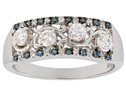 Photo of .81ctw lab strontium titanate, white zircon & blue diamond accents rhodium over silver band ring - Size 6