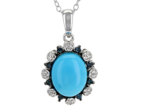 Photo of 10x8mm Oval Sleeping Beauty Turquoise, .14ctw Zircon & Diamond Accent Silver Pendant W/ Chain