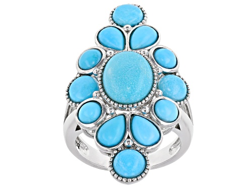 Photo of Mixed Shape Cabochon Sleeping Beauty Turquoise Sterling Silver Cluster Ring - Size 7