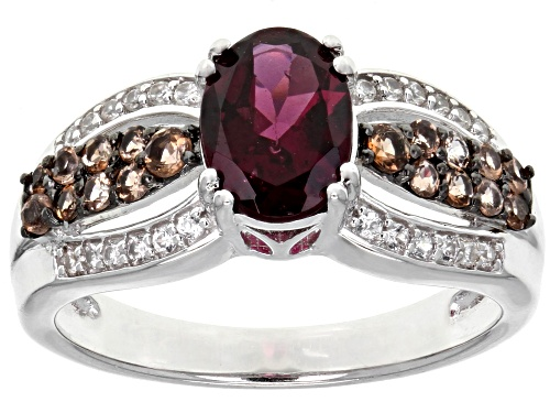 Photo of 1.19CT OVAL RASPBERRY COLOR RHODOLITE W/ .28CTW ANDALUSITE & .14CTW ZIRCON STERLING SILVER RING - Size 7