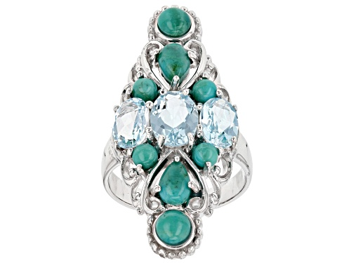 Photo of 2.59CTW OVAL GLACIER TOPAZ(TM) WITH MIXED SHAPE TURQUOISE RHODIUM OVER STERLING SILVER RING - Size 8