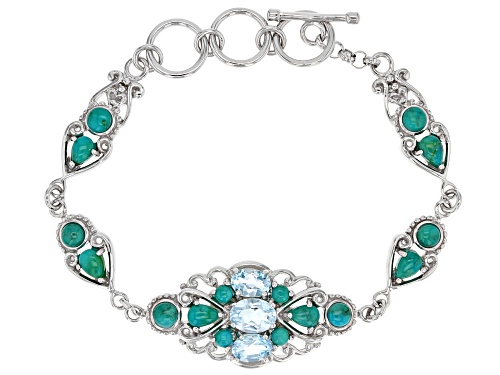 Photo of 2.57CTW OVAL GLACIER TOPAZ(TM) WITH MIXED SHAPE TURQUOISE RHODIUM OVER STERLING SILVER BRACELET - Size 7.25