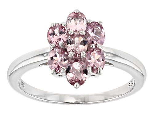 Photo of 1.19CTW OVAL COLOR SHIFT GARNET RHODIUM OVER STERLING SILVER 7-STONE CLUSTER RING - Size 9