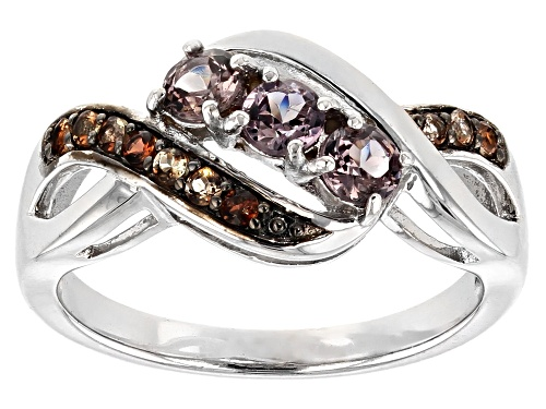 Photo of .56CTW ROUND COLOR SHIFT GARNET WITH .16CTW ROUND ANDALUSITE RHODIUM OVER STERLING SILVER RING - Size 11