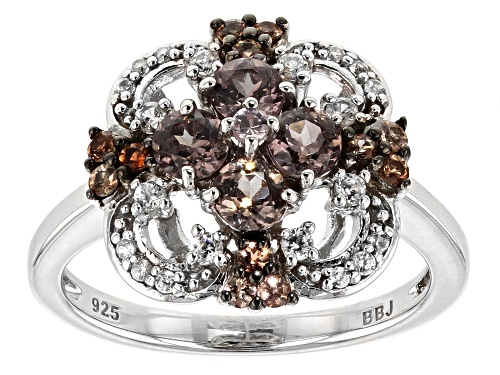 Photo of .78CTW ROUND COLOR SHIFT GARNET, .19CTW ANDALUSITE AND .21CTW WHITE ZIRCON RHODIUM OVER SILVER RING - Size 7