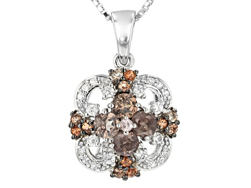 Photo of 1.18CTW COLOR SHIFT GARNET, ANDALUSITE AND WHITE ZIRCON RHODIUM OVER SILVER PENDANT WITH CHAIN