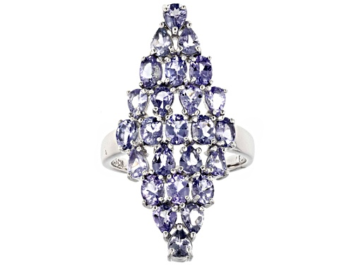 Photo of 3.33ctw Oval and Pear Shape Tanzanite Sterling Silver Cluster Ring - Size 6