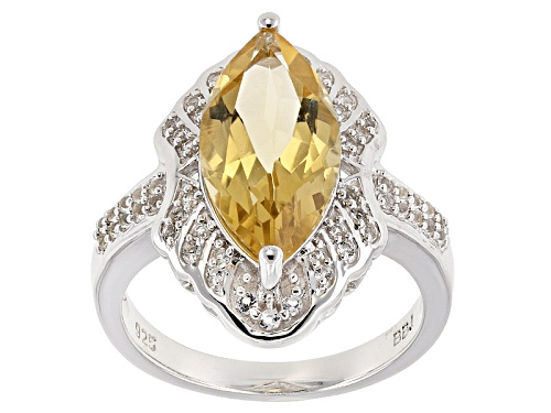 Photo of 3.27ct Marquise Champagne Quartz With .19ctw Round White Topaz Sterling Silver Ring - Size 12