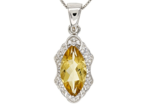 Photo of 3.27ct Marquise Champagne Quartz With .13ctw Round White Topaz Sterling Silver Pendant With Chain