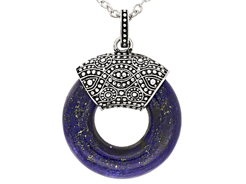 Photo of 22MM FANCY SHAPE LAPIS LAZULI STERLING SILVER PENDANT WITH CHAIN