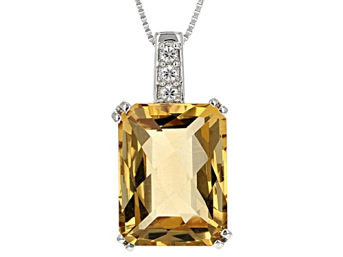 Photo of 11.36ct Rectangular Checkerboard Cut Champagne Quartz & .16ctw White Zircon Silver Pendant W/Chain